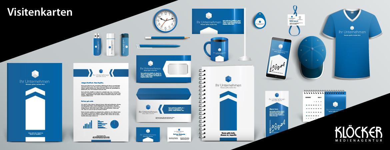 Visitenkarten Layout Medienagentur Klöcker Werbeagentur