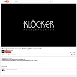 YouTube Upload Klöcker Medienagentur